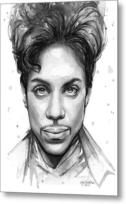Prince Watercolor Portrait Metal Print