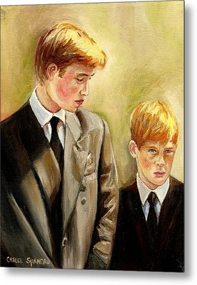 Prince William And Prince Harry Metal Print by Carole Spandau