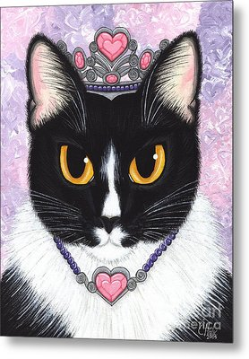 Princess Fiona -tuxedo Cat Metal Print by Carrie Hawks