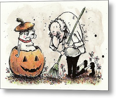 Princess The Alpha Male In A Jack-o'-lantern Metal Print by Connor Reed Crank