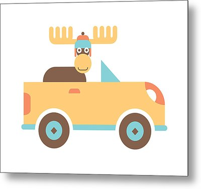 Moose Road Trip Metal Print by Mitch Frey