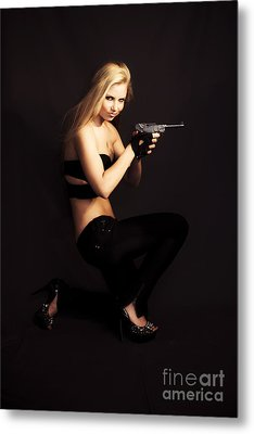 Private Investigator With Hand Gun Metal Print by Jorgo Photography - Wall Art Gallery