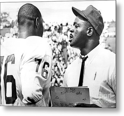 Pro Football Hall Of Famer, Rosy Brown Gives Pointers To Rookie Tackle, Don Davis. 1966 Metal Print