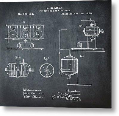 Process Of Brewing Patent 1885 In Chalk Metal Print