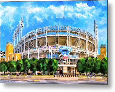 Metal Print featuring the mixed media Progressive Field - Cleveland Baseball by Mark Tisdale