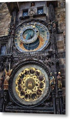 Progue Astronomical Clock Metal Print by Sheila Mcdonald