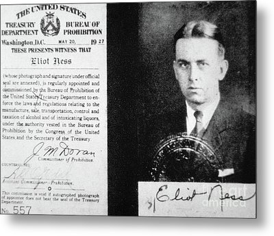 Prohibition Agent Id Card Of Eliot Ness Metal Print by American School