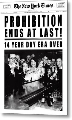 Prohibition Ends At Last Headline 1933 White Metal Print