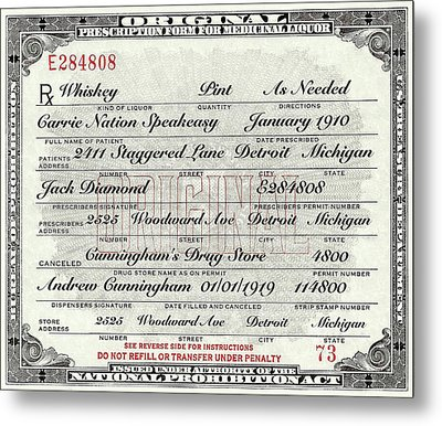 Metal Print featuring the photograph Prohibition Prescription Certificate Carrie Nation Speakeasy by David Patterson
