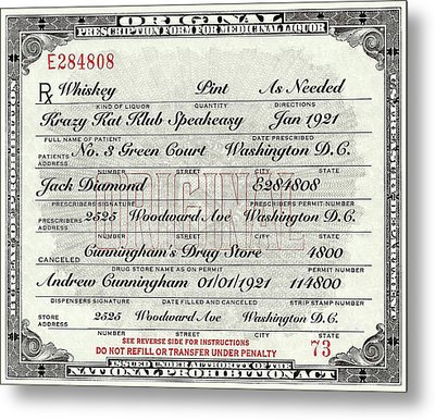Metal Print featuring the photograph Prohibition Prescription Certificate Krazy Kat Klub by David Patterson