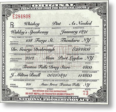 Metal Print featuring the photograph Prohibition Prescription Certificate Speakeasy by David Patterson