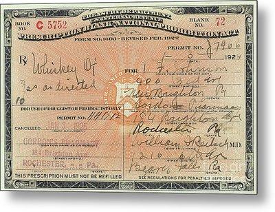 Prohibition Prescription For Whiskey Metal Print