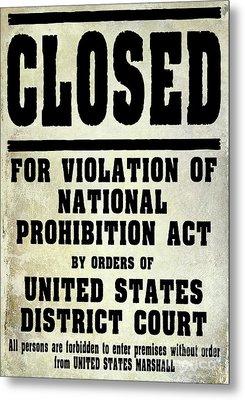 Prohibition Violation Posting Metal Print