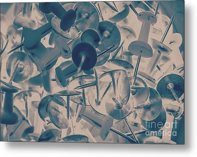 Projected Abstract Blue Thumbtacks Background Metal Print