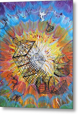 Prophetic Message Sketch 30 Set Free Metal Print by Anne Cameron Cutri