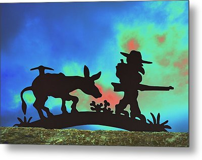 Prospector's Silhouette Metal Print by Richard Henne