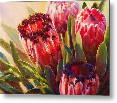 Metal Print featuring the painting Protea - Tropical Flowers From Hawaii by Karen Whitworth