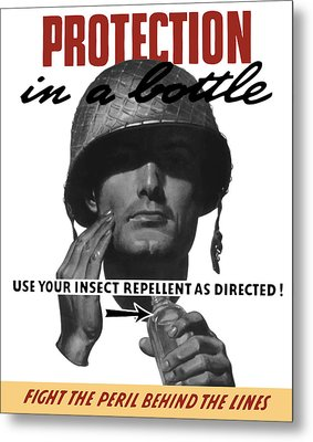 Protection In A Bottle Fight The Peril Behind The Lines Metal Print by War Is Hell Store