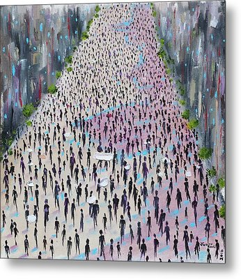 Metal Print featuring the painting Protesters by Judith Rhue