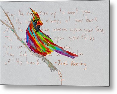 Proud Cardinal With Blessing Metal Print by Beverley Harper Tinsley
