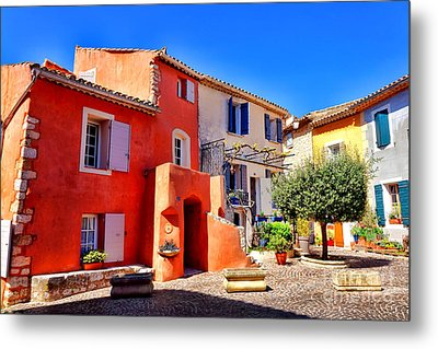 Provencal Plaza Metal Print by Olivier Le Queinec