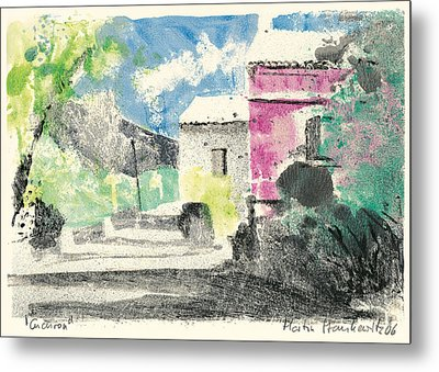 Metal Print featuring the painting Provence Landscape Village Cucuron by Martin Stankewitz