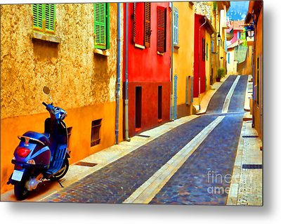 Provence Street With Scooter Metal Print by Olivier Le Queinec