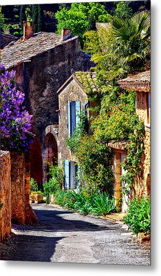 Provence Village Street In Spring Metal Print by Olivier Le Queinec