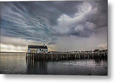 Metal Print featuring the photograph Provincetown Storm, Cabrals Wharf by Charles Harden
