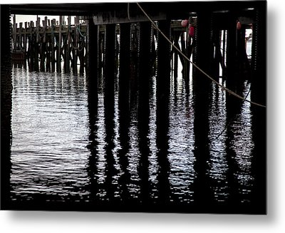 Provincetown Wharf Reflections Metal Print by Charles Harden