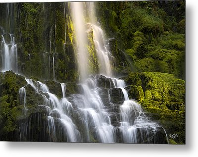 Proxy Falls In Forest Light Metal Print by Leland D Howard