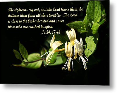 Psalms Scripture With Honey Suckle Flowers Metal Print