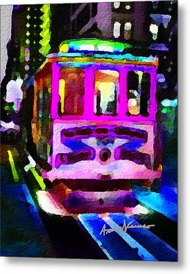 Psychedelic Cable Car Metal Print by Anthony Caruso
