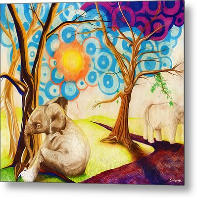 Metal Print featuring the drawing Psychedelic Elephants by Shawna Rowe