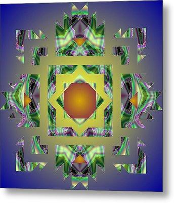 Psychedelic Mandala 002 A Metal Print by Larry Capra