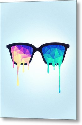 Psychedelic Nerd Glasses With Melting Lsd Trippy Color Triangles Metal Print by Philipp Rietz