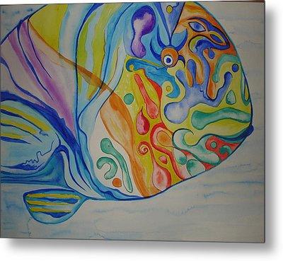 Psychedelic Parrotfish Metal Print