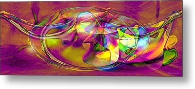 Metal Print featuring the digital art Psychedelic Sun by Linda Sannuti