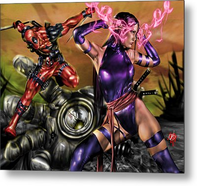 Psylocke And Deadpool Metal Print by Pete Tapang