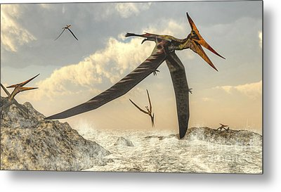 Pteranodon Bird Flying Above Ocean Metal Print by Elena Duvernay