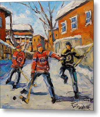Puck Control Hockey Kids Created By Prankearts Metal Print by Richard T Pranke