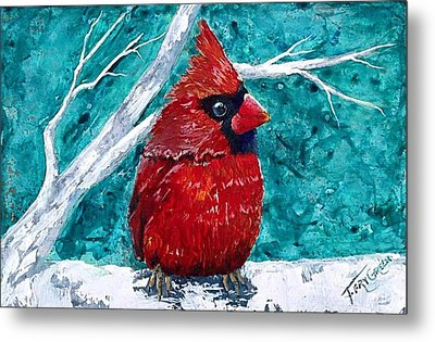 Pudgy Cardinal Metal Print by T Fry-Green