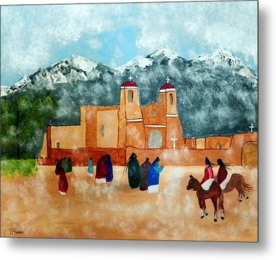 Pueblo Church Metal Print by Joseph Frank Baraba