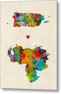 Puerto Rico Venezuela Love Metal Print