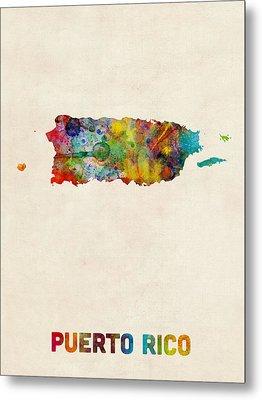 Puerto Rico Watercolor Map Metal Print by Michael Tompsett