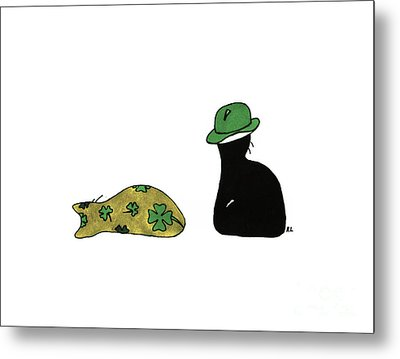 Metal Print featuring the drawing Puffie And Muffie St. Patrick's Day by Rachel Lowry