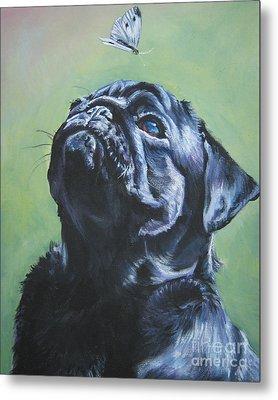 Pug Black  Metal Print by Lee Ann Shepard