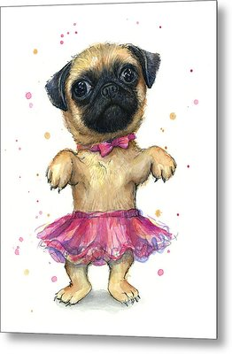Pug In A Tutu Metal Print by Olga Shvartsur