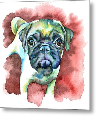 Pug In Red Metal Print by Christy  Freeman