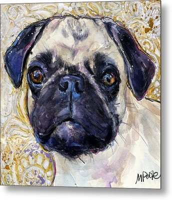 Metal Print featuring the painting Pug Mug by Molly Poole